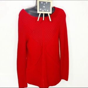 DANA BUCHMAN DEEP RIBBED PATTERNED SWEATER SMALL